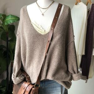 Free People V-Neck Pullover Wool Yak Blend Sweater